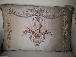 Hand Embroidered Taupe Silk Chandelier Pillow - $115.00