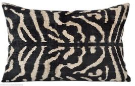 Zebra Vintage Hand Loomed Silk Ikat Velvet Pillow - $265.00