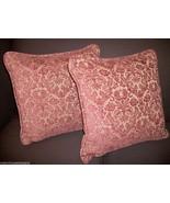 Pair Of Stroheim & Romann soft Chenille Damask Pillows. Color: Marsala - $275.00