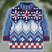 Sweater Weather Winter 2015 seasonal ornament kit cross stitch Mill Hill - $6.75