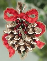 Pinecone Winter 2015 seasonal ornament kit cross stitch Mill Hill - $6.75