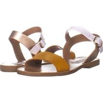Steve Madden Donddi Flat Ankle Strap Sandals 684, Yellow Multi, 5.5 US - $28.79