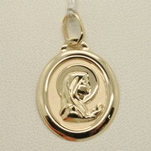 18K YELLOW GOLD MEDAL PENDANT, WITH VIRGIN MARY IN PRAYER, MADONNA, LENGTH 0.94  image 1