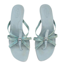 TOD'S Aqua Reptile Leather Strappy Thong Sandals size 8 image 2
