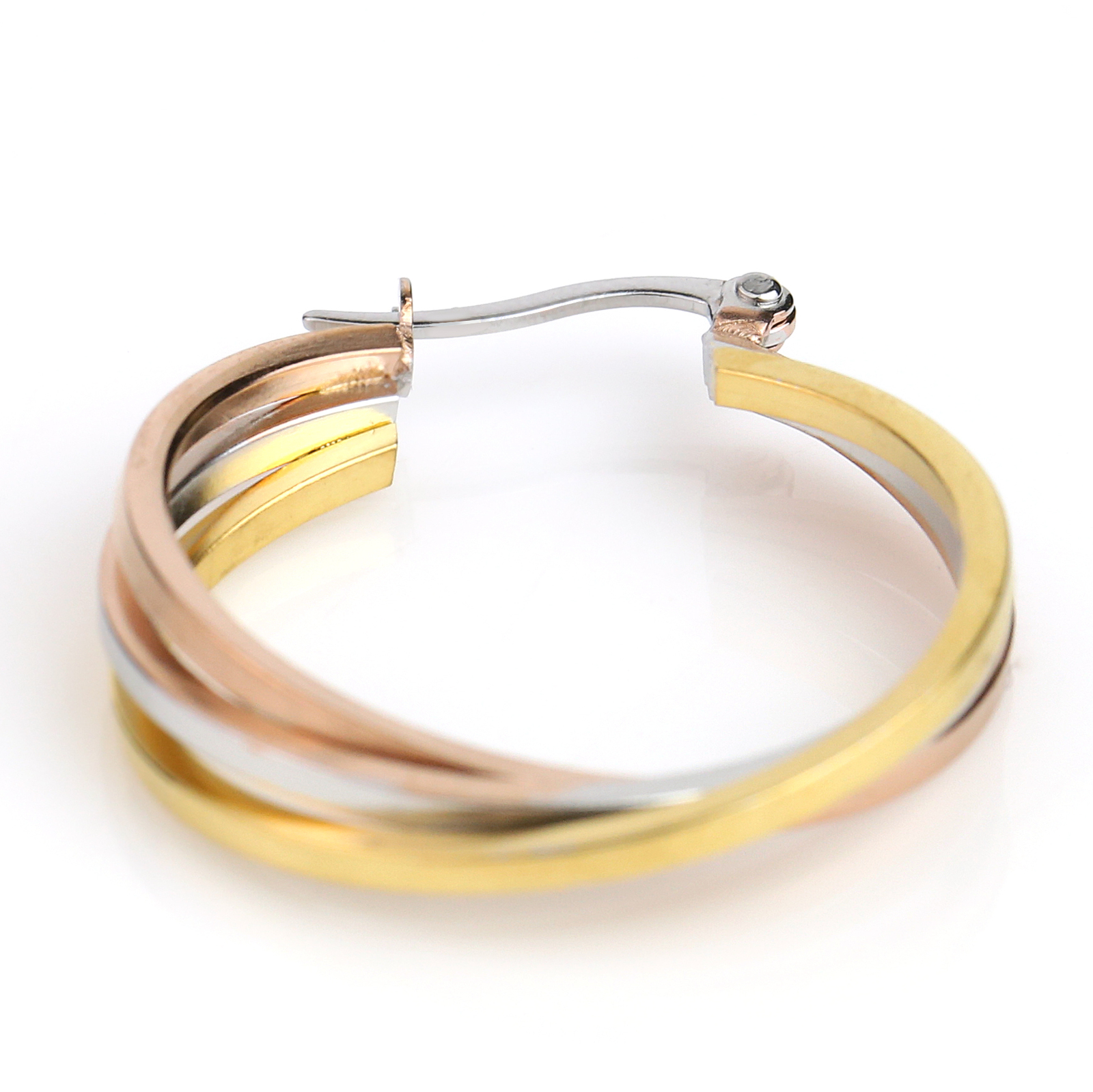 Trendy Twisted Tri-Color Silver, Gold & Rose Tone Hoop Earrings- United Elegance