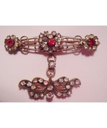Red & Clear Rhinestones Heart Bow Vintage Doubl... - $27.67
