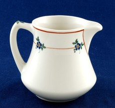 Syracuse China OPCO Restaurant Ware Creamer Red Lines Blue Flowers Old Ivory - $7.00