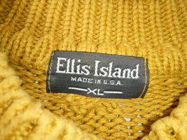 Vtg Ellis Island Men Sweater XL Mustard Yellow Crewneck Chunky Cardigan Pullove image 6