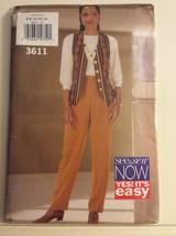 Butterick Pattern 3611 Misses Vest, Top, Pants Size 6-14 - $8.74