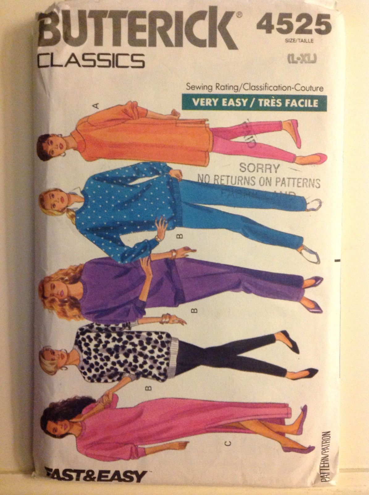 Butterick Pattern Classic 4525 Misses Top, Caftan, Leggings,& Pants Size L-XL