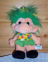 "Trolio All Soft Plush 10"" Troll - Green Hair in Summer Polka-Dot Dress - $7.89"