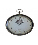Hanging Oval Wall Clock Coat Of Arms London Queen Steam Punk Vintage Ant... - $58.99