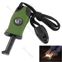 3 In1 Flint Stone Survival Magnesium Fire Starter Lighter + Whistle + Compass