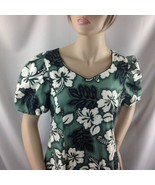 Hilo Hattie Green Hawaiian Mermaid Sweetheart Bodice Dress Hibiscus Leaf 10 - $44.55
