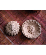 Vintage Terra Cotta Clay Sunflower Sunshine Face Wall Hanging Two Pieces... - $14.95