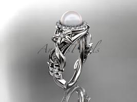 Platinum  diamond pearl unique engagement ring AP300 - $2,100.00