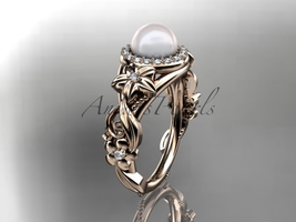 Unique engagement ring with pearl center stone, fancy engagement ring, b... - $1,475.00