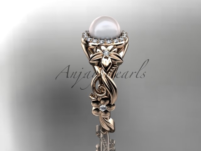 Unique engagement ring with pearl center stone, fancy engagement ring, bridal ri