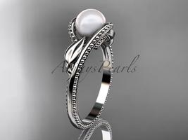 Unique 14kt white gold floral pearl engagement ring AP301 - $625.00
