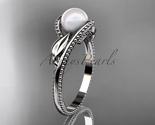 P301 white gold  platinum  pearl  diamond wedding band  diamond engagement ring  1 thumb155 crop
