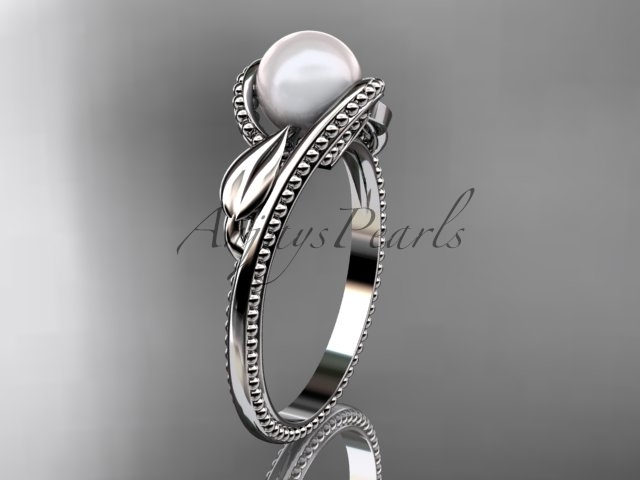 Ap301 white gold  platinum  pearl  diamond wedding band  diamond engagement ring  1