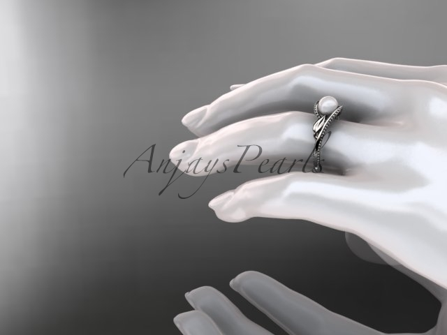 Unique 14kt white gold floral pearl engagement ring AP301