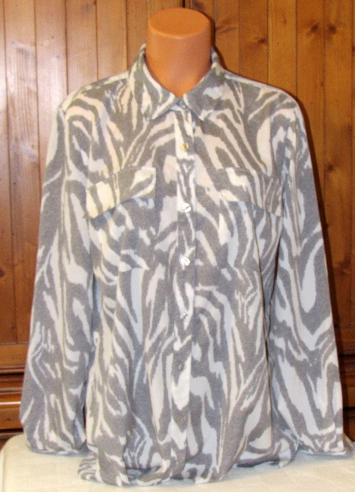 Michael Kors Women's Long Sleeve Animal Print Multi-Color Polyester Blouse S: XL