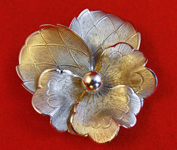 Vintage Danecraft Sterling Silver Pansy Brooch, Mid to late 1940's - $49.00