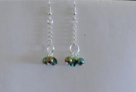 Dangle earrings Green glass Silver Chain handmade Women's earrings 1-1/2... - $5.00