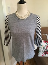 The French Essential - 3/4 Length Striped Sleeve Top by J. Crew XS