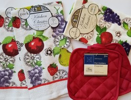 Red Fruit Kitchen Linens Set 6-pc Towels Cloths Potholders Apple Grapes ... - $12.99