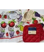 Red Fruit Kitchen Linens Set 6-pc Towels Cloths Potholders Apple Grapes ... - $12.99