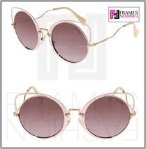 MIU MIU SQENIQUE Glitter Peach Violet Pink 51T Mirror Oversized Sunglass... - $234.63