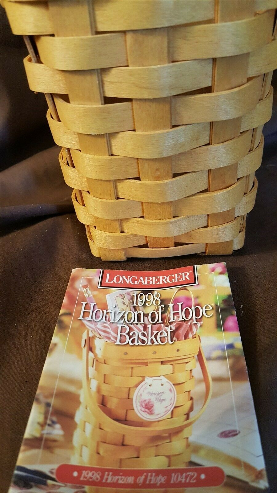 Longaberger 1998 HORIZON OF HOPE Basket Breast Cancer Awareness With Protector
