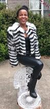New Designer Brian Reyes Zebra Stripe cream white black fox fur coat Jac... - $1,699.99