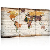Visual Art Decor Decor XLarge 3 Piece Retro Wood Texture Map of World Wa... - $85.89