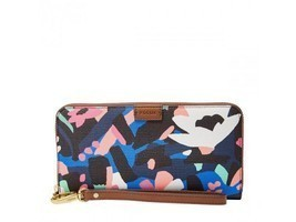 New Fossil Rfid Protected Emma Large Zip Clutch Wristlet Wallet Black Floral - $54.40