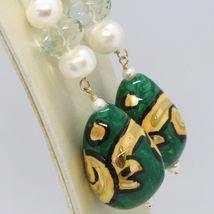 Ohrringe aus Gold Gelb 750 18K Perlen Fw Tropf Bemalt Hand Made in Italy image 3