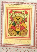 Vintage Design Works Cross Stitch Christmas Greeting Card Kit Sitting Teddy - $11.13