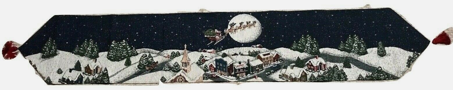 "Primary image for Santa Flying night sky Christmas Eve w Reindeer Tapestry Table Runner 12"" x 72"""