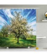 Shower Curtain Tree Orchard Nature Grass Print 8669 - $17.79