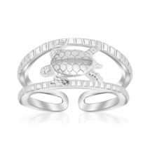 Womens Cute Sterling Silver Rhodium Plated Open Toe Ring with a Turtle Accent - $23.76