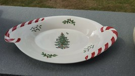 "Spode Christmas Tree 14"" Oval Serving Platter Dish Peppermint Candy Cane Handles - $24.60"