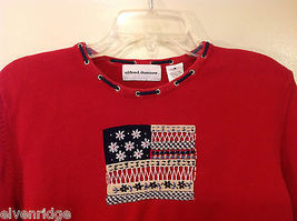 Alfred Dunner Red 3/4 Sleeve Sweater USA Flag Imitation, Size M, 100% cotton image 3