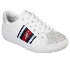 Skechers GOLDIE Fly Girl Rhinestones Pearls White Stripes Sneakers Wms 8.5 NWT - $46.99