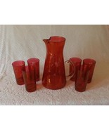Glass Pitcher and Tumblers Set Vintage Cranberry Acid Etched Glassware - $44.99