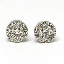 18K WHITE GOLD EARRINGS, CENTRAL AND FRAME DIAMONDS, FLOWER, 0.26 CARATS image 2