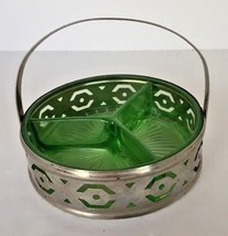 Candy Dish Condiments Trinkets Metal Caddy Vaseline Green Depression Gla... - $19.75