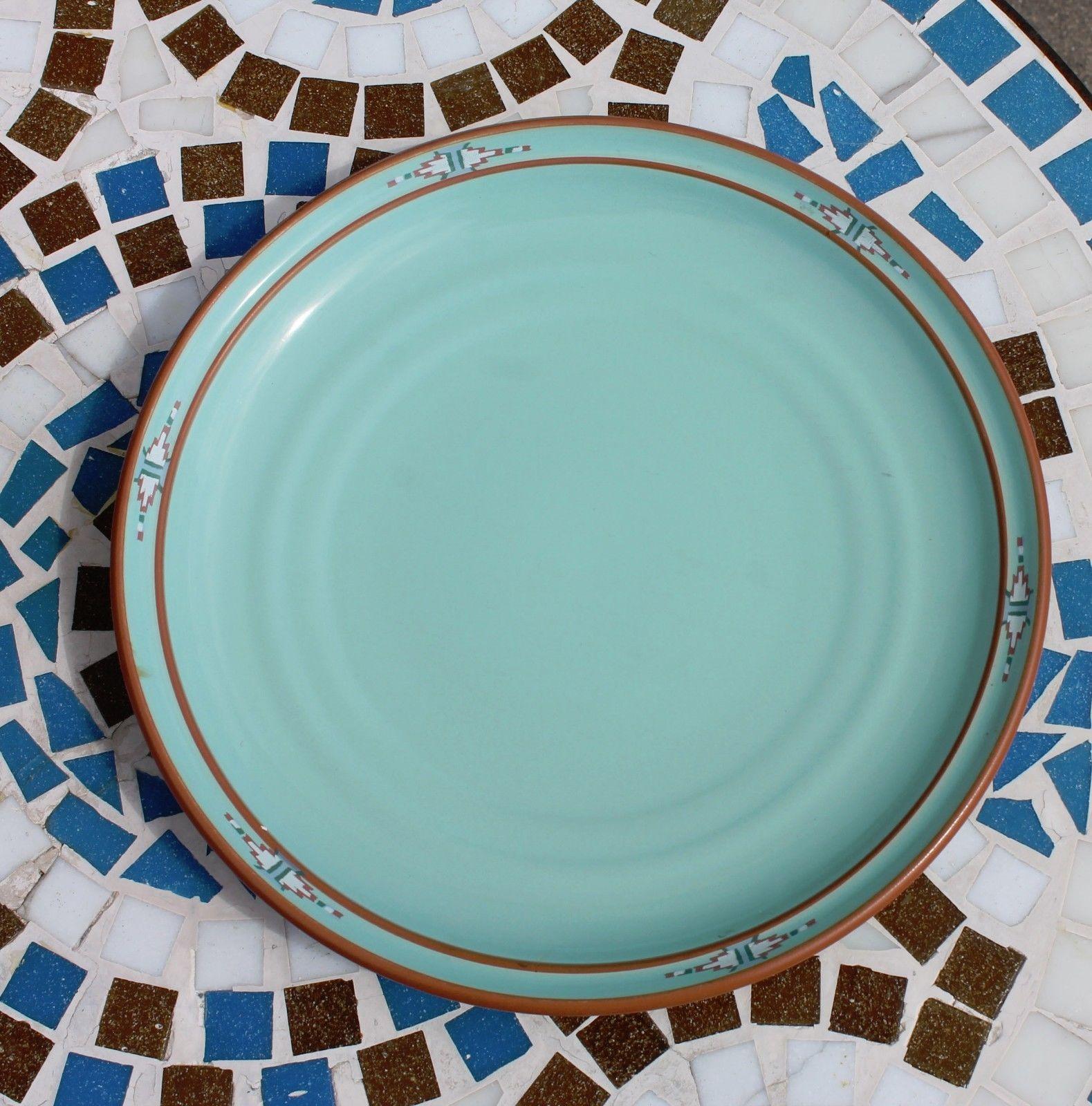 Noritake Stoneware Japan Dinner Plate & Cereal Soup Bowl Boulder Ridge Turquoise image 5