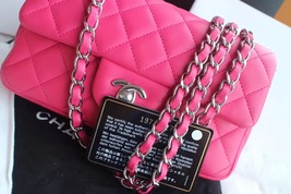 AUTHENTIC CHANEL PINK QUILTED LAMBSKIN LARGE RECTANGULAR MINI CLASSIC FLAP BAG  image 9